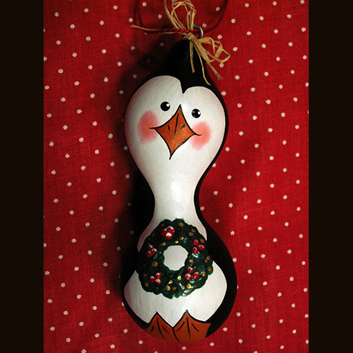 A gourd called Penguin Ornaments made by Ivy Howard.