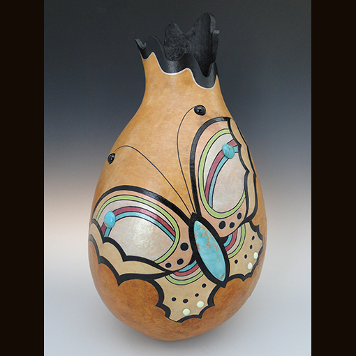A gourd called Wings made by Ivy Howard.