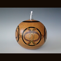 A candle gourd made by Ivy Howard.