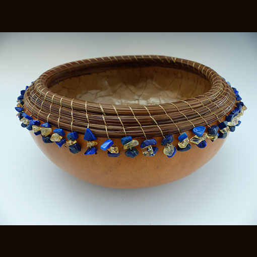 A gourd called Lapis & Honey made by Ivy Howard.